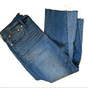 Madewell Cali Demi Boot Cut Raw Hem Cropped Jeans